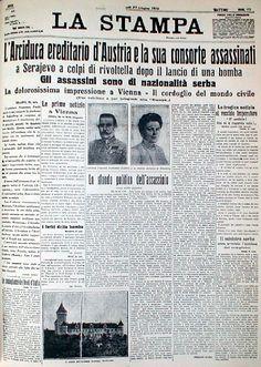 La Stampa - 29 giugno 1914 L'Arciduca ereditario d'Austria e la sua consorte assassinati.