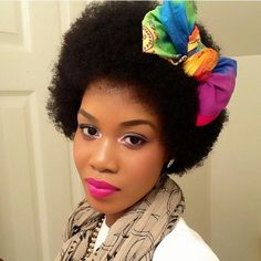 Fab #fro. Cute bow. <<created using a small scarf. ♡♡ Via @tupo1  #naturalhairstyles #Afro #hairaccessories #hairalternatives #naturalisbeautiful