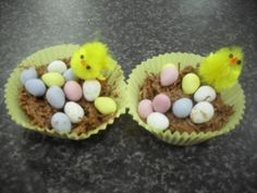 we made these Easter nests at youth group using shredded wheat, chocolate and golden syrup for the nest, then added teeny candy-coated mini eggs and tiny chicks (from the poundland shop). A nice cooking activity to take home.