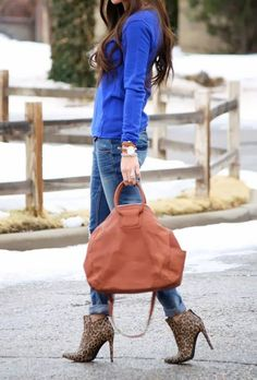 I'm Blue. Da Ba Dee.  #Women Winter Casual Streetstyle #Blue Indigo Sweater #Blue Ripped Skinny Jeans #Camel Leather Tote #Beige Animal Print Leather Ankle boots