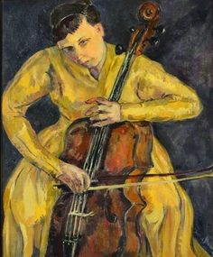 TICMUSart: Portrait Of Vera Poppe Playing The Cello - Irma Stern (1943) (I. M.)