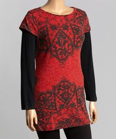 Look what I found on #zulily! Red & Black Filigree Layered Sweater Tunic - Plus by Aryeh #zulilyfinds