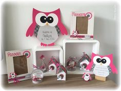 Menu 3 OWL on base shape wood Shape: OWL Size: Theme / color: Fuchsia Design: star or stars (or other choice) Option: wood base All assembled by us. Invitation Text, Invitations, Decoration Communion, Mint Blue, The Godfather, Plexus Products, Christening, Penguins, Best Gifts