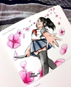 Yandere Simulator Characters, Love Sick, Little Games, Cherry Blossom, My Drawings, Cool Art, Cartoons, Images, Fan Girl