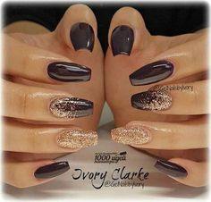 Acrylic Nail Designs, Nail Art Designs, Brown Nail Designs, New Years Nail Designs, Accent Nail Designs, Uñas Color Cafe, How To Do Nails, My Nails, Plum Nails