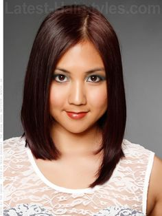 Dark Beauty Smooth Brunette Style for a Round Face