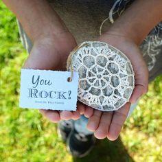 crochet rocks, inexpensive, unique, handmade end of year gift for teachers! #crochetrock #teachergift