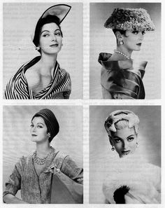 Four diverse 1950s hats that united by their classic beauty and timeless appeal.