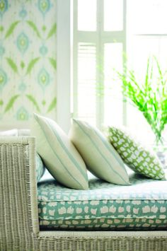 Wallpaper: Island Ikat in Aqua and Green by Thibaut Designs