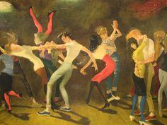 Rockabilly Teenagers 1950s vintage Framed Art Print Signed Doris Zinkeisen, retro 50s Teenage Dancers, Rock & Roll Happy Days 16f. $325.00, via Etsy.