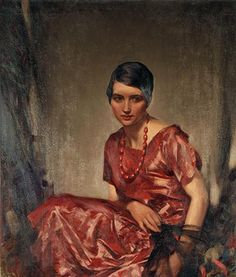 Girl in Red by Stanley Cursiter (Scottish 1887-1976)