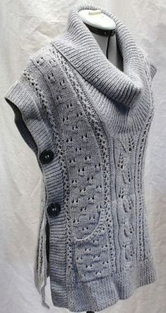 "diy_crafts-Free Knitting Pattern for Tabard Vest ""Knitting Free Pattern: Tabard Vest/Shawl Collar Slipover by Lion Brand Yarn"", ""Free Pattern: Knitting Patterns Free, Knit Patterns, Free Knitting, Free Pattern, Pattern Ideas, Sewing Patterns, Pull Crochet, Knit Vest Pattern, Lion Brand Yarn"