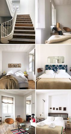inspiring interiors of baixa house, lisbon. Pink Houses, Beautiful Bedrooms, Door Knobs, Cozy House, Interior Inspiration, Guest Room, Stairs, Interior Design, Furniture