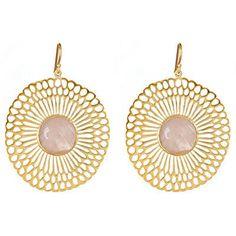 Julie Vos Calypso Earrings in Rose Quartz