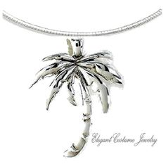 "Palm Tree Chunky 16"" or 18"" Necklace Nautical and Beach Jewelry"