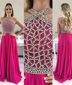 A-line Fuchsia Chiffon with Beaded Prom Dress,Senior Prom Formal Dress,apd2116