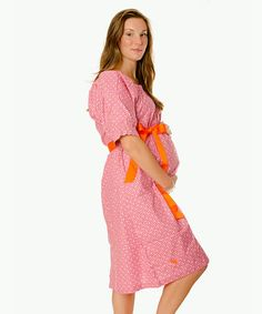 Take a look at this Pink & Orange Stork Delivery Gown by Ready for Baby: Hospital Essentials on #zulily today!