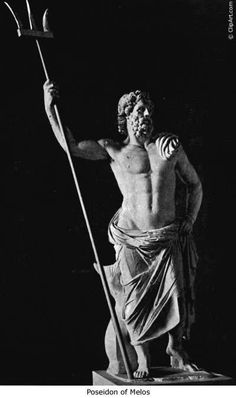 'Poseidon of Melos. Poseidon is normally depicted with a beard and he commonly carries a trident which he used to split rocks or cause earthquakes. It is also common for him to appear with a dolphin, as with this marble statue created around 130 BCE on the island of Melos. Sometimes the dolphin or dolphins are pulling him along in a shell-chariot.