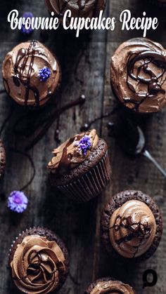 fudgy Brownie Cupcakes with crinkly and chewy tops. Frosted with creamy, silky dark chocolate buttercream. Very easy to make. Brownie Cupcakes Recipe by Also The Crumbs Please Brownie Cupcakes, Cheesecake Cookies, Vanilla Cupcakes, Fun Cupcakes, Chocolate Cupcakes, Cupcake Cakes, Baking Chocolate, Orange Cupcakes, Chocolate Muffins