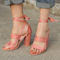 49094a50482b Flocking Lace-up Chunky Heel Daily Pumps  women  shoes  highheel  elegant
