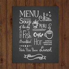 Menu Chalkboard Sign - Kitchen Display Wall Decor Gift - Wooden Gift Kitchen Sign Art