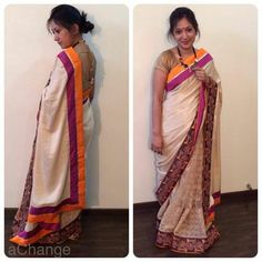 Beautiful beige saree flanked in a bright border