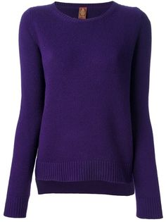 DONDUP Long Sleeve Sweater - Purple merino sweater from Dondup featuring a round neck, long sleeves, ribbed cuffs and a straight hem.