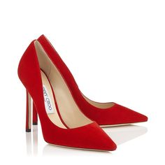 Romy 110 Pointy Toe Pumps in Red Suede. Red Shoes, Me Too Shoes, Homecoming Shoes, Velvet Ankle Boots, Red High Heels, Red Stilettos, Red Pumps, Jimmy Choo Shoes, Mode Style