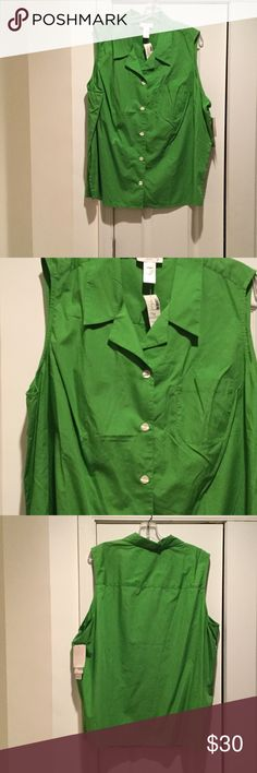 Ladies 22w green sleeveless button down blouse NWT Ladies 22w button down 100 cotton bright green blouse with left front patch pocket detail . Really nice for spring and summer. NWT Jones New York Tops Button Down Shirts