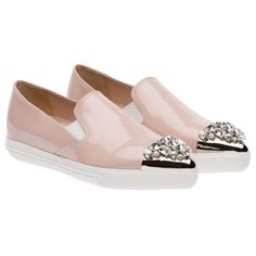 The Best Trendy Loafers for Women - Miu Miu Pale Pink Sneakers; $650 at store.miumiu.com