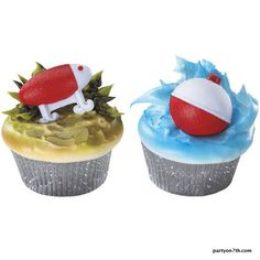 bass fishing party cupcakes