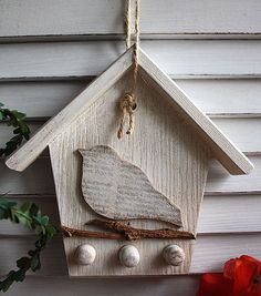 Rustic key holder - wooden birdhouse