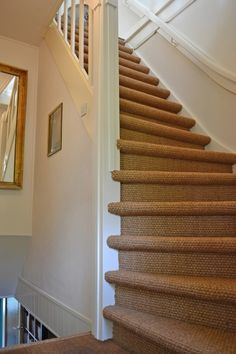 Coco flooring on the stairs, nice finish of the stairs. Sisal, Georgian Homes, Attic Rooms, Carpet Stairs, Carpet Design, Interior Decorating, Sweet Home, New Homes, Home And Garden