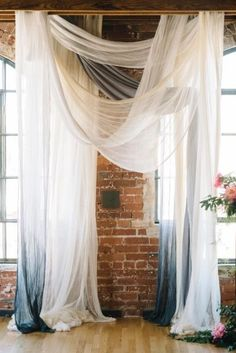 These Indoor Ceremony Backdrops Will Make You Pray for Rain Elegant + ethereal wedding ceremony decor - white + blue ombré fabric draped on the ceremony altar Krista Mason Photogra. Wedding Ceremony Ideas, Wedding Draping, Indoor Wedding Ceremonies, Indoor Ceremony, Wedding Altars, Wedding Ceremony Flowers, Ethereal Wedding, Ceremony Arch, Wedding Ceremony Decorations