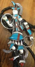 ZUNI STERLING SILVER MULTI STONE INLAY INDIAN HOOP DANCER DESIGN  BOLO TIE