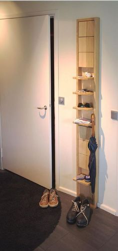 Space Saving: Individual Shelves which fold up when not in use. Some of these great shelves could also be heavy dowels that stick out at an angle - making the wall unit usable as a coat and boot or shoe rack. Space Saving Furniture, Diy Furniture, Furniture Design, Furniture Plans, Folding Furniture, Furniture Chairs, Small Furniture, Furniture Storage, Garden Furniture