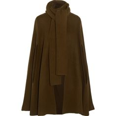 Michael Kors Collection Ribbed merino wool and cashmere-blend cape ($3,010) ❤ liked on Polyvore featuring outerwear