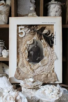 Shabby chic framed photo - love the texture and chance to use frames that no longer have the glass