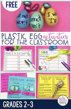 "Don't know what to do with those leftover plastic Easter eggs? Here are some great suggestions. Make sure to keep them and use them all of April with the following fun and ""egg""citing ""egg""tivities! (Sorry, I couldn't help myself.) All of the printables needed, are available for FREE just for you! 5 ""Egg""tivities to Reuse Plastic Eggs in the Primary Classroom