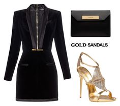 """""""Gold sandals"""" by tania-alves ❤ liked on Polyvore featuring Giuseppe Zanotti, Balmain, Balenciaga and goldsandals"""
