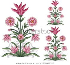 mughal flower bunch motif white background