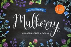 Mulberry Script. Mulberry is whimsical and modern font with a lot of character. This typeface comes with pretty flourished alternate letters, ligatures, extras and watercolor art. Mulberry works great for stationery, letterpress, weddings, magazines and marketing.