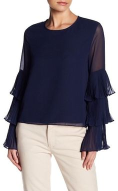 f4c8950e410 Lucy Paris Ruffle Tiered Sleeve Blouse  tops  blouse  fashion  navyblue   stylish  pretty