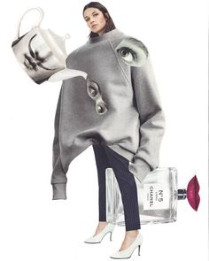 Dalí and Coco on a date..Tuesday with new collage #surrealistic #fashion #collage #mycreation #coco #over #oversize #grey #sweatshirt #composition #art #cut #magazines #playing #pictures #unusual #connection