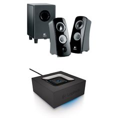 Logitech Speaker System with Subwoofer + Logitech Bluetooth Audio Adapter Bundle Bluetooth Audio Adapter, Speaker System, Surround Sound, Logitech, Apple Tv, Smartphone, Android, Technology, Amazon