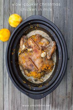Slow-cooker Christmas Chicken in Milk with Orange, Cinnamon and Savoury // www.simplebites.net