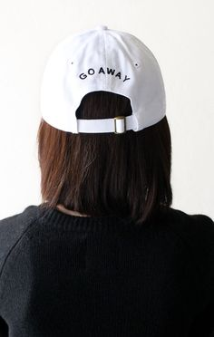 - Description Details: White six panel baseball cap with 'Go Away' embroidery on the back & adjustable back with tri-glide buckle. All accessories are final sale. Outfits For Teens, Cute Outfits, Types Of Hats, Cute Caps, Hat Hairstyles, Cool Hats, Bad Hair Day, Dad Hats, Diy Clothing