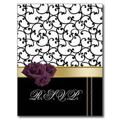 violet roses romantic Wedding rsvp card Postcard
