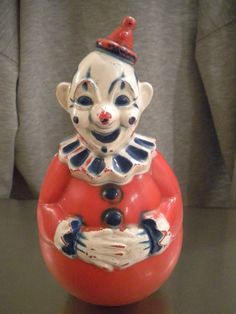 Vintage 1940s Roly Poly Celluloid Clown Toy by AnneTiques1 on Etsy, $24.99