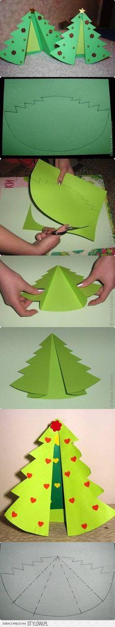 Christmas tree homemade card invitation